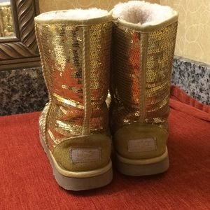 UGG Shoes - UGG Gold Sequined Shiny women's Boots 8